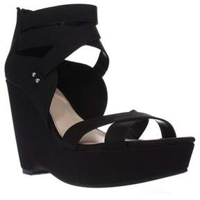 Bar III B35 Samara Strappy Wedge Sandals, Black.