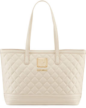 Love Moschino Napa Quilted Faux Napa Satchel Bag, Ivory