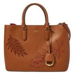 Lauren Ralph Lauren Marcy Leaf-Applique Leather Satchel