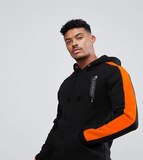 Hype Hoodie In Black With Orange Stripe
