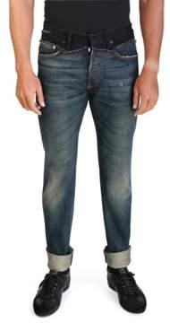 Christian Dior Men's Men's Slim Fit Cut and Sew Denim Jeans Pants Blue Black