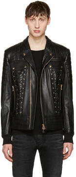 Balmain Black Leather Lace-Up Biker Jacket