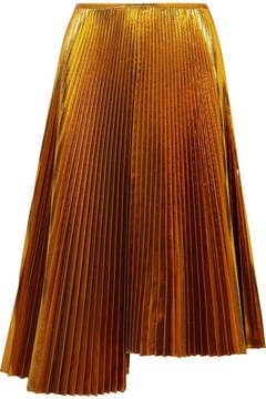 Cédric Charlier Asymmetric Plissé-lamé Skirt - Gold