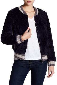 Blanc Noir Contrast Ribbed Faux Shearling Bomber Jacket
