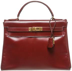 Hermes Kelly leather satchel - BURGUNDY - STYLE