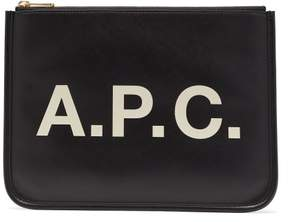 A.P.C. Morgane Logo Print Vinyl Pouch - Womens - Black
