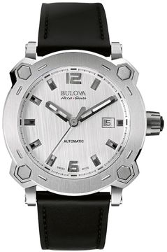 Bulova Men's Accu Swiss Leather Automatic Watch - 63B191