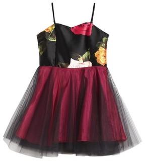 Un Deux Trois Girl's Floral Print Tulle Dress