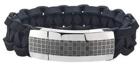 Armani Exchange Jewelry Mens Stainless Steel Checkerboard Black Leather Bracelet.