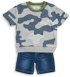 Hudson Baby Boy's Two-Piece Camouflage Tee and Denim Shorts Set