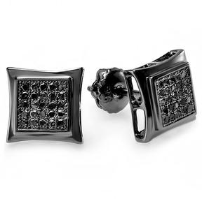 Ice Men's 1/7 CT TW Black Diamond Black-Plated 10K Gold Smooth Edged Square Stud Earrings