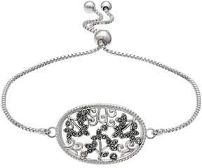 Brilliance+ Brilliance Silver Plated Marcasite Leaf Filigree Bolo Bracelet