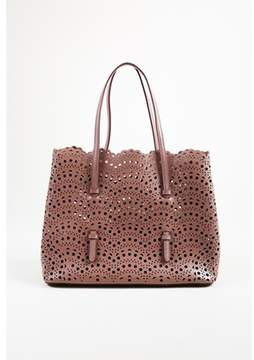 Alaia Pre-owned Purple Leather Lasercut Top Handle Tote Bag.