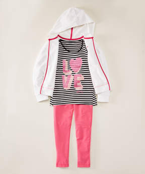 DKNY Bright White 'Love' Hoodie Set - Infant, Toddler & Girls