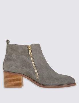 Marks and Spencer Suede Block Heel Ankle Boots