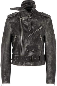 Balenciaga Scarf Distressed Leather Biker Jacket - Black