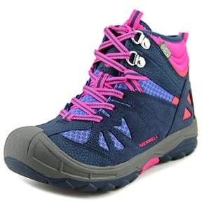 Merrell Capra Mid Waterproof Toddler Round Toe Leather Blue Hiking Boot.