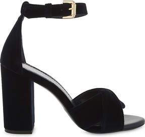 Maje Buckled velvet block heels
