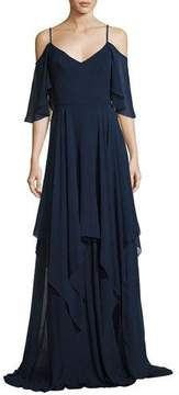Theia Cold-Shoulder Silk Georgette Gown, Blue