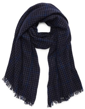 Hickey Freeman Men's Windowpane Plaid Cashmere Scarf
