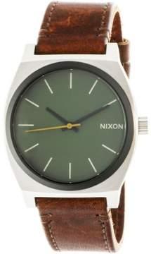 Nixon Time Teller A0452334 Silver Leather Japanese Quartz Dress Watch