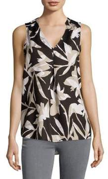 Context Tropical Silhouette Pleated Shell Top