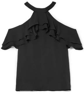 Draper James Cold-shoulder Ruffled Silk Blouse - Black
