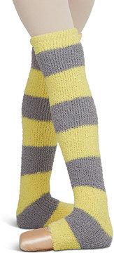 Capezio Lemon & Medium Gray Two-Tone Stripe Leg Warmers - Girls