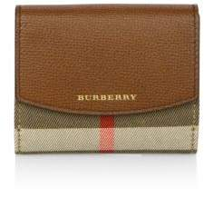 Burberry Luna House Check Derby Leather French Wallet - TAN - STYLE