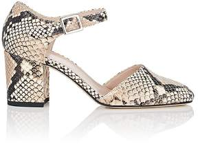 Barneys New York Women's Stamped Leather Ankle-Strap D'Orsay Pumps