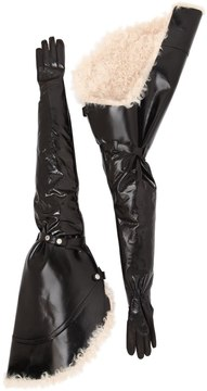 Saint Laurent Extra Long Leather Gloves W/ Shearling