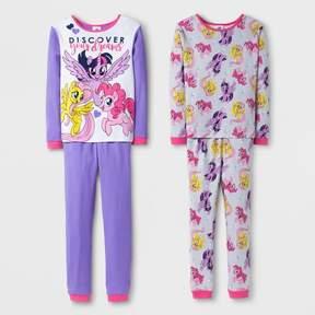 My Little Pony Girls' 4 Piece Cotton Pajama Set - Multi-Colored