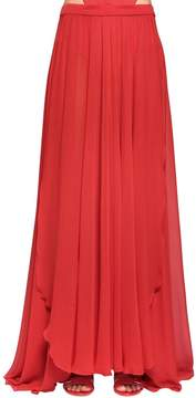 Elie Saab Silk Crepe Georgette Long Skirt