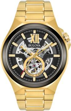 Bulova Automatic 98A178 Black/Gold Stainless Steel Men's Watch