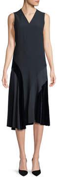 Akris Punto Sleeveless Velvet-Trim Midi Dress