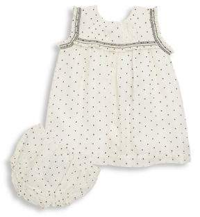 Burberry Baby's Tally Two-Piece Dotted Dress and Bloomers Set