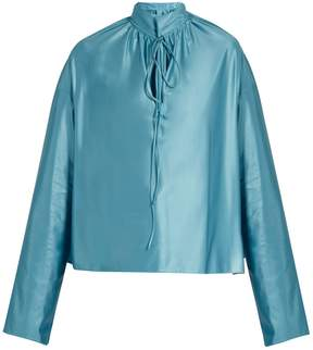 Balenciaga Buttoned-collar long-sleeved jersey blouse