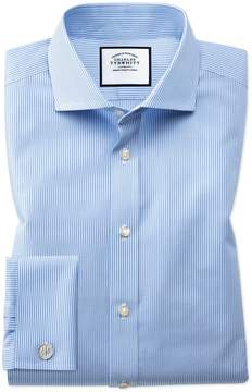 Charles Tyrwhitt Extra Slim Fit Spread Collar Non-Iron Bengal Stripe Sky Blue Cotton Dress Shirt Single Cuff Size 14.5/32