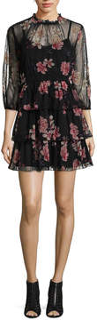 As U Wish 3/4 Sleeve Floral A-Line Dress-Juniors