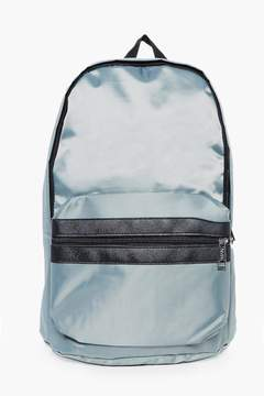 boohoo Silver Nylon Backpack With Contrast Trim