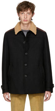 Prada Black Shearling Collar Coat
