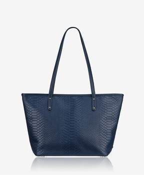 GiGi New York Zip Taylor Tote In Navy Embossed Python