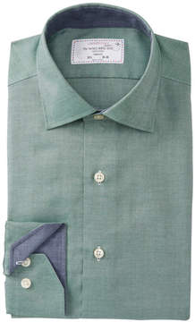 Lorenzo Uomo Textured Basketweave Trim Fit Dress Shirt