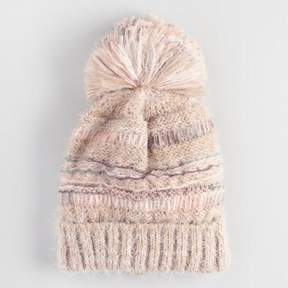 World Market Blush Mixed Knit Pom Hat
