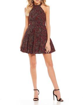 B. Darlin Glitter Flocked Fit-And-Flare Dress