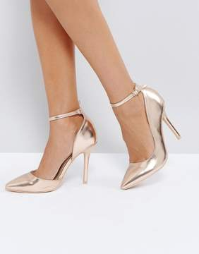Glamorous Rose Gold Ankle Strap Pumps