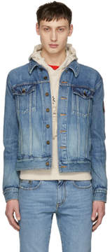 Saint Laurent Blue Denim Patch Slim Jacket