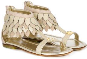 Roberto Cavalli leaf fringed sandals