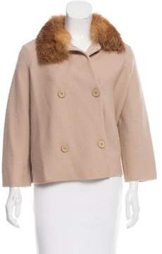 Christian Dior Fox Fur-Trimmed Wool Jacket
