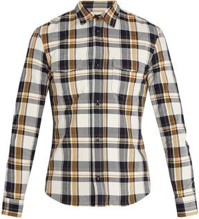 Maison Margiela Spread-collar checked cotton-twill shirt